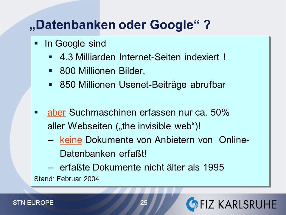 """Datenbanken oder Google"