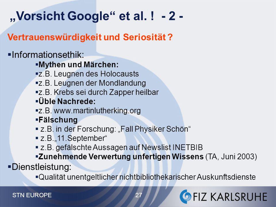 """""""Vorsicht Google et al. ! - 2 -"""