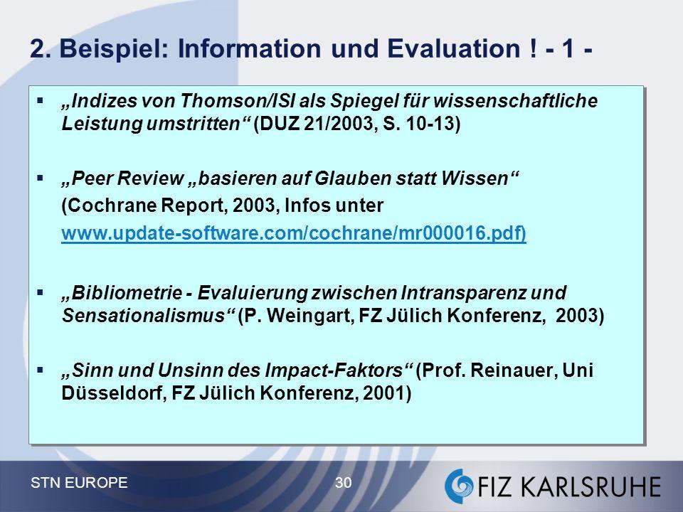 2. Beispiel: Information und Evaluation ! - 1 -