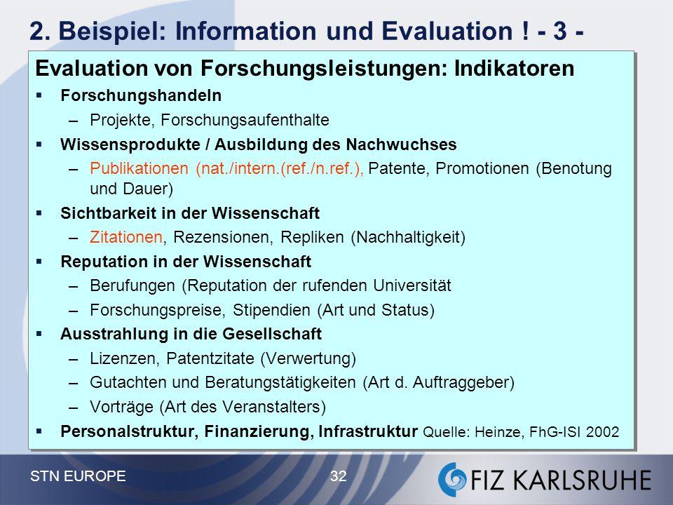 2. Beispiel: Information und Evaluation ! - 3 -