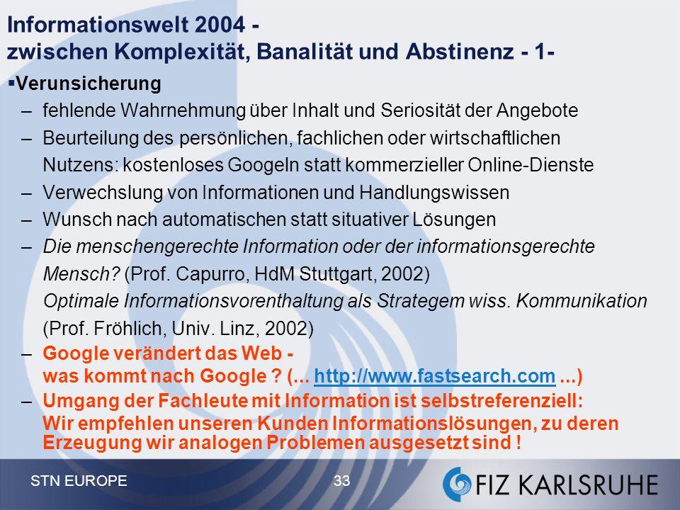Informationswelt 2004 - zwischen Komplexität, Banalität und Abstinenz - 1-