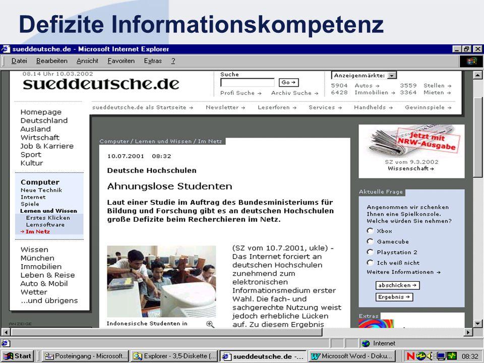 Defizite Informationskompetenz