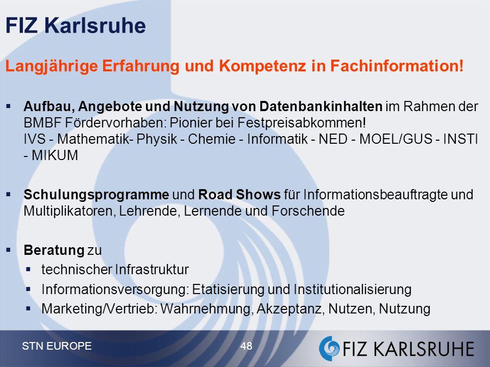 FIZ Karlsruhe Langjährige Erfahrung und Kompetenz in Fachinformation!