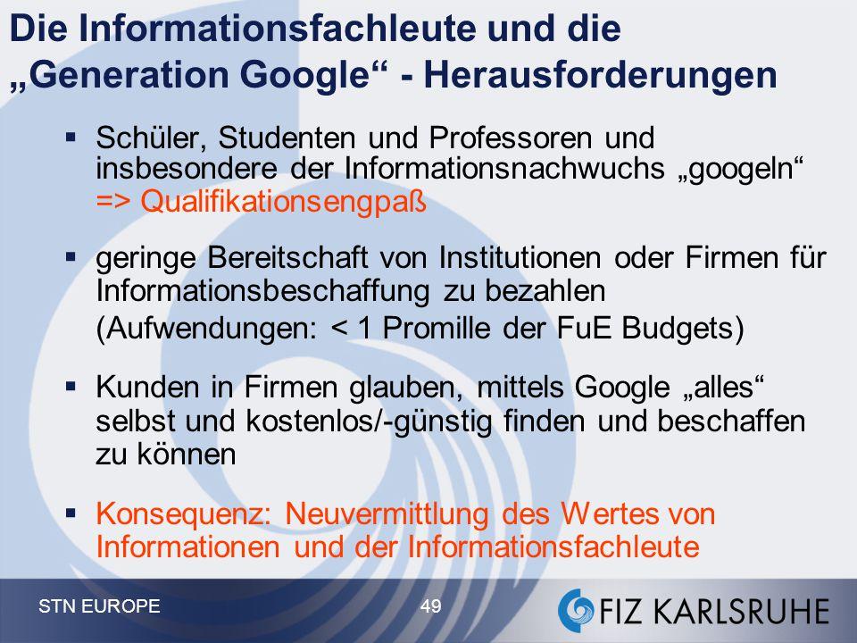 """Die Informationsfachleute und die """"Generation Google - Herausforderungen"""
