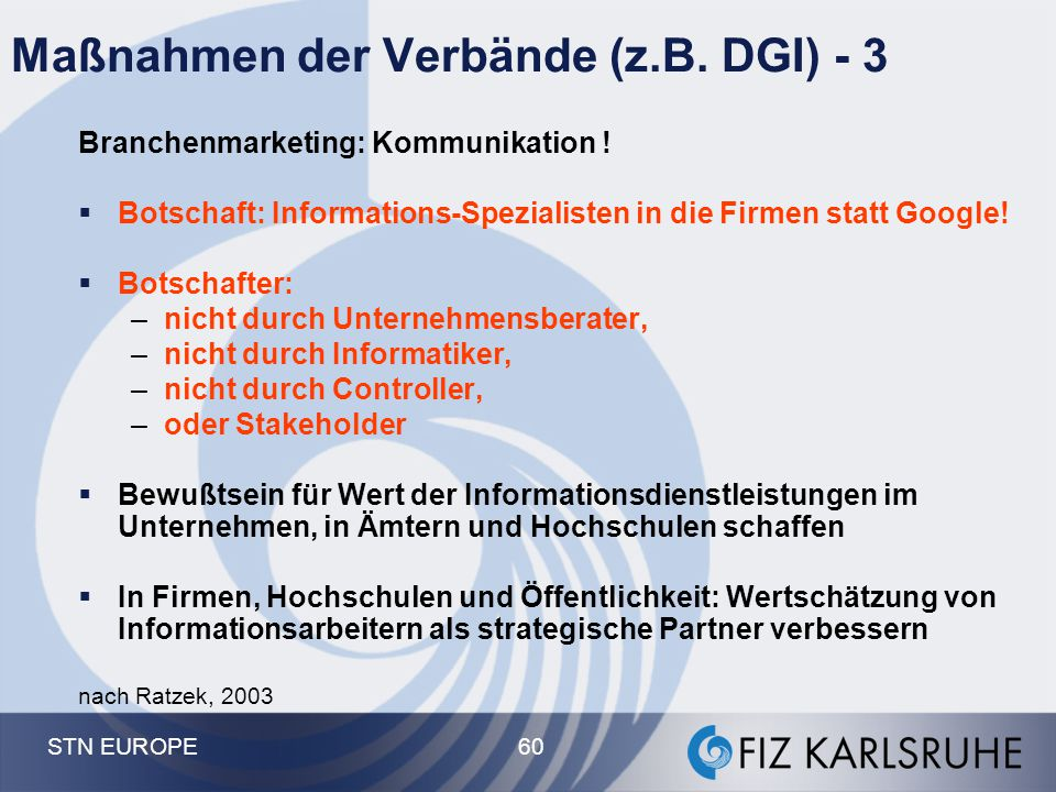 Maßnahmen der Verbände (z.B. DGI) - 3
