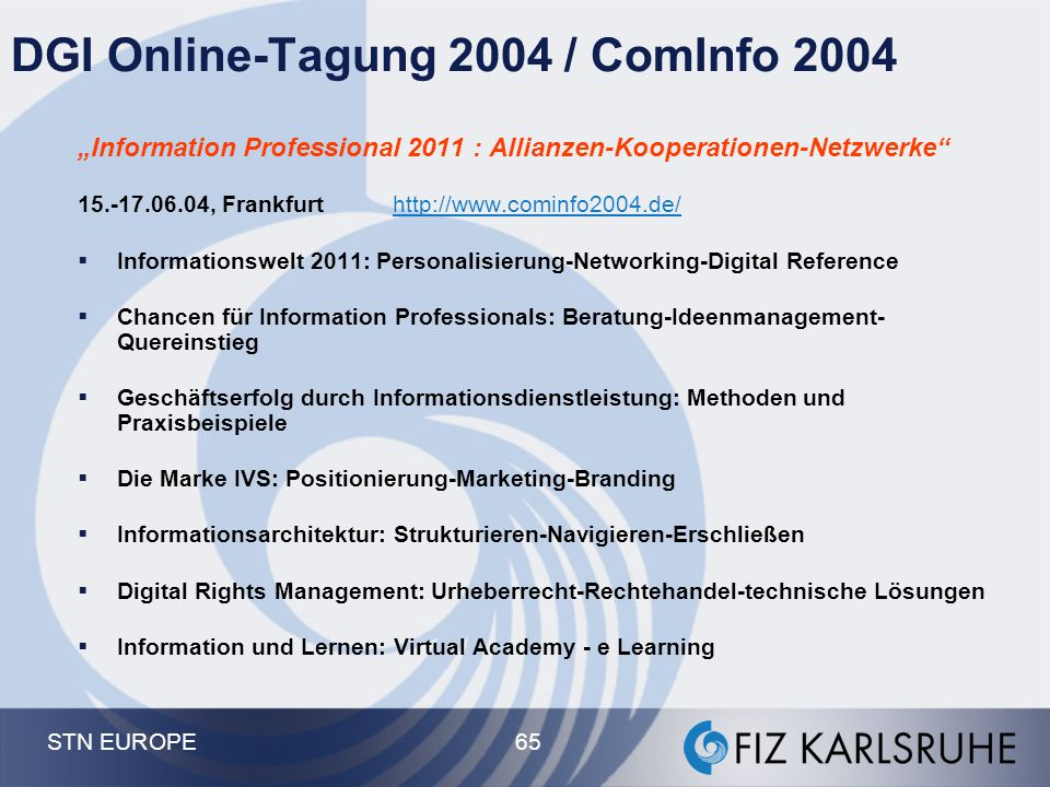 DGI Online-Tagung 2004 / ComInfo 2004