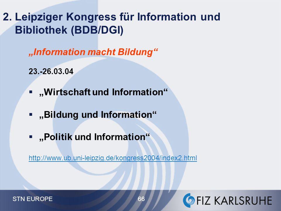 2. Leipziger Kongress für Information und Bibliothek (BDB/DGI)