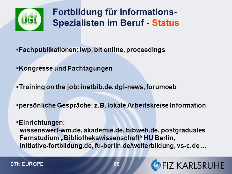 Fortbildung für Informations-Spezialisten im Beruf - Status