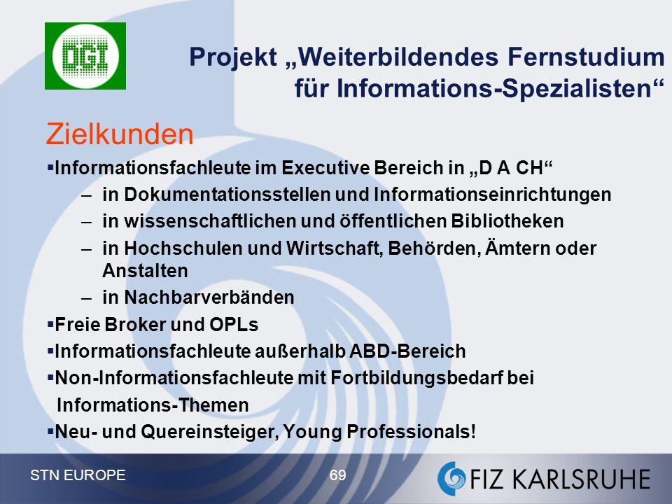 """Projekt """"Weiterbildendes Fernstudium für Informations-Spezialisten"""