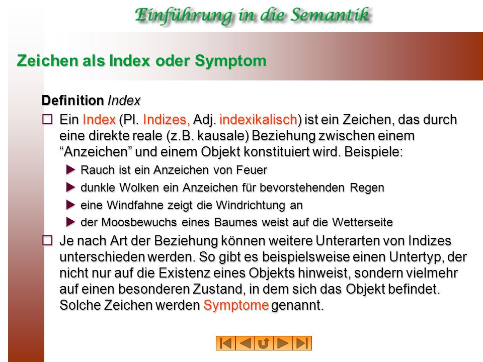 Zeichen als Index oder Symptom