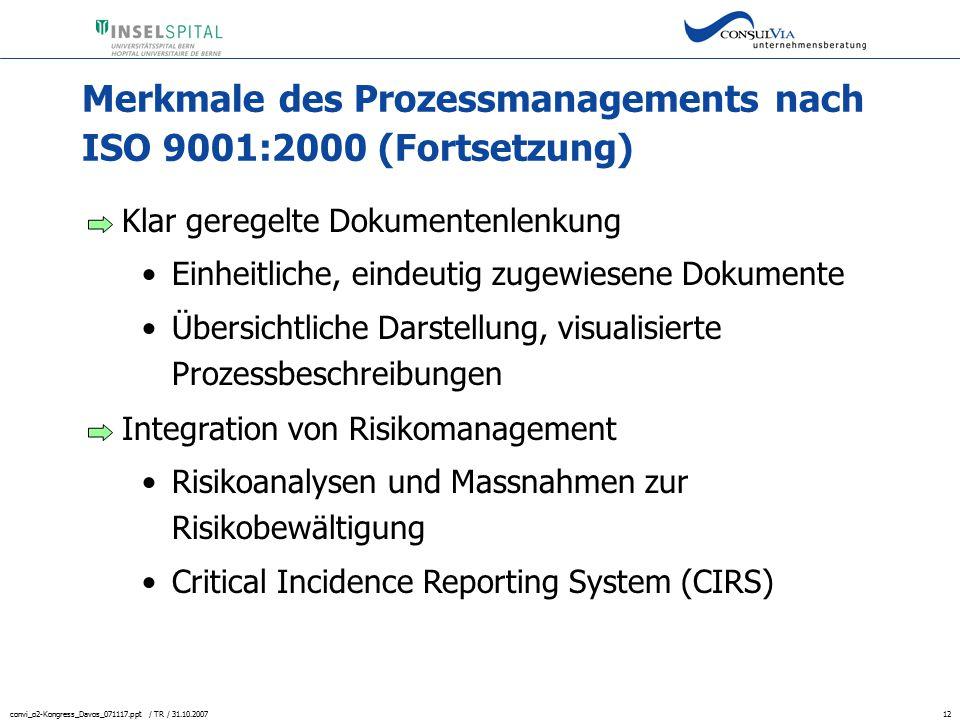 Merkmale des Prozessmanagements nach ISO 9001:2000 (Fortsetzung)