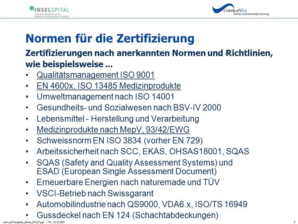 Normen für die Zertifizierung