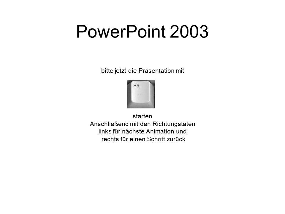 PowerPoint 2003 bitte jetzt die Präsentation mit starten
