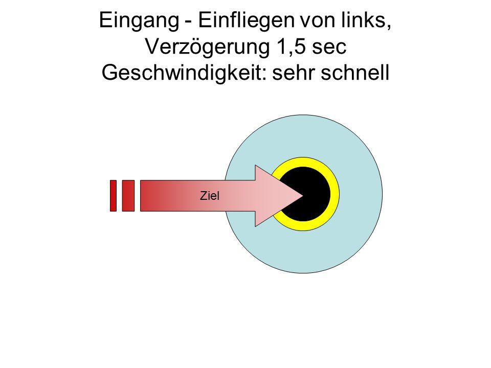 Eingang - Einfliegen von links, Verzögerung 1,5 sec Geschwindigkeit: sehr schnell