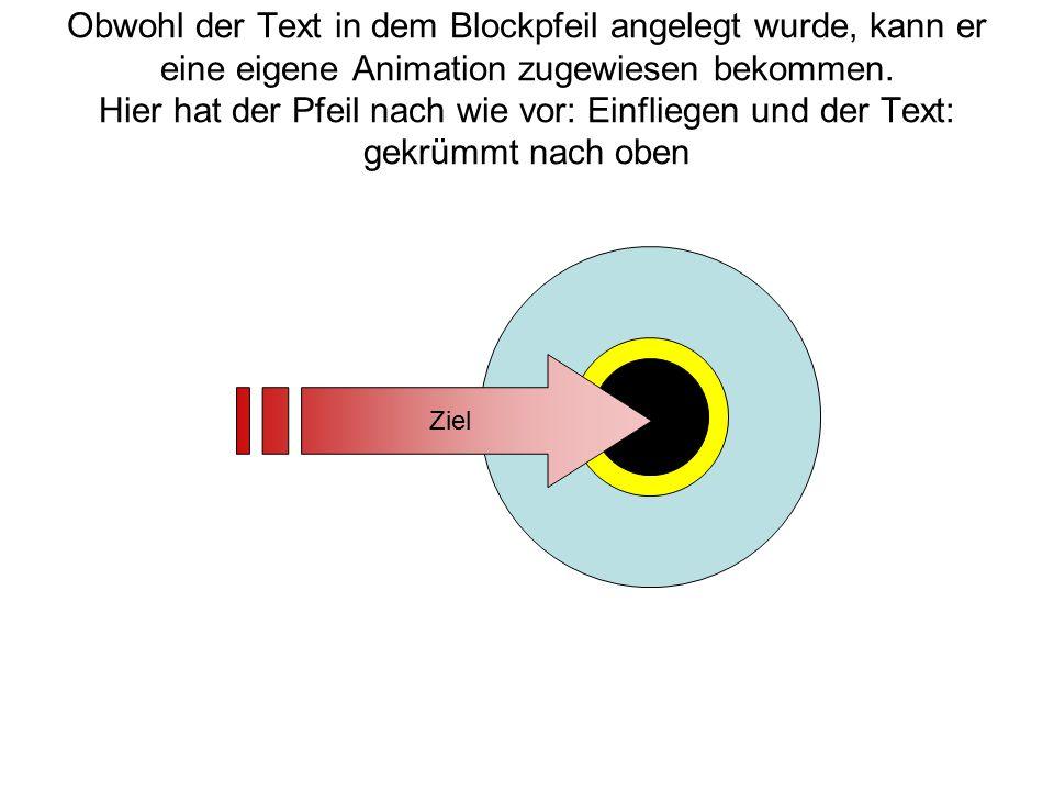 Obwohl der Text in dem Blockpfeil angelegt wurde, kann er eine eigene Animation zugewiesen bekommen. Hier hat der Pfeil nach wie vor: Einfliegen und der Text: gekrümmt nach oben