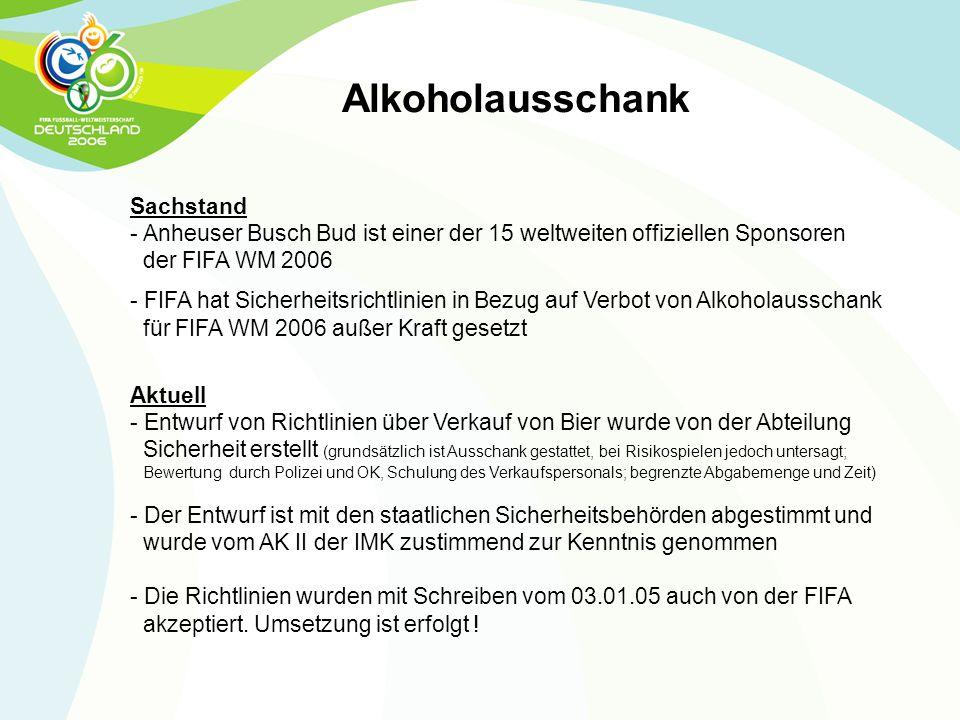 Alkoholausschank Sachstand