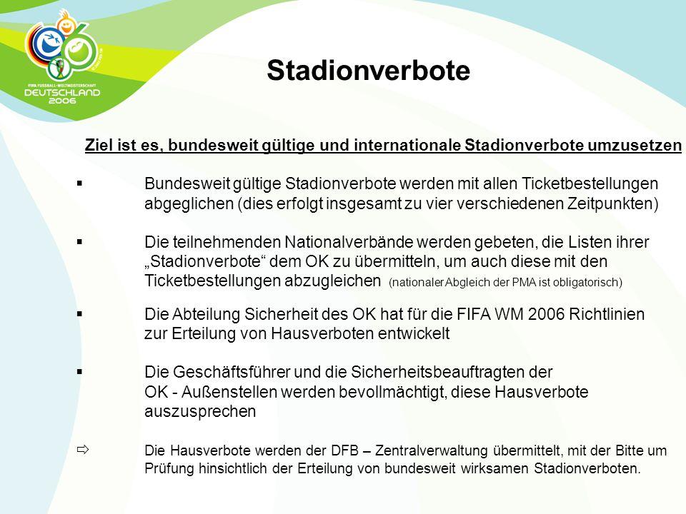 Stadionverbote Ziel ist es, bundesweit gültige und internationale Stadionverbote umzusetzen.