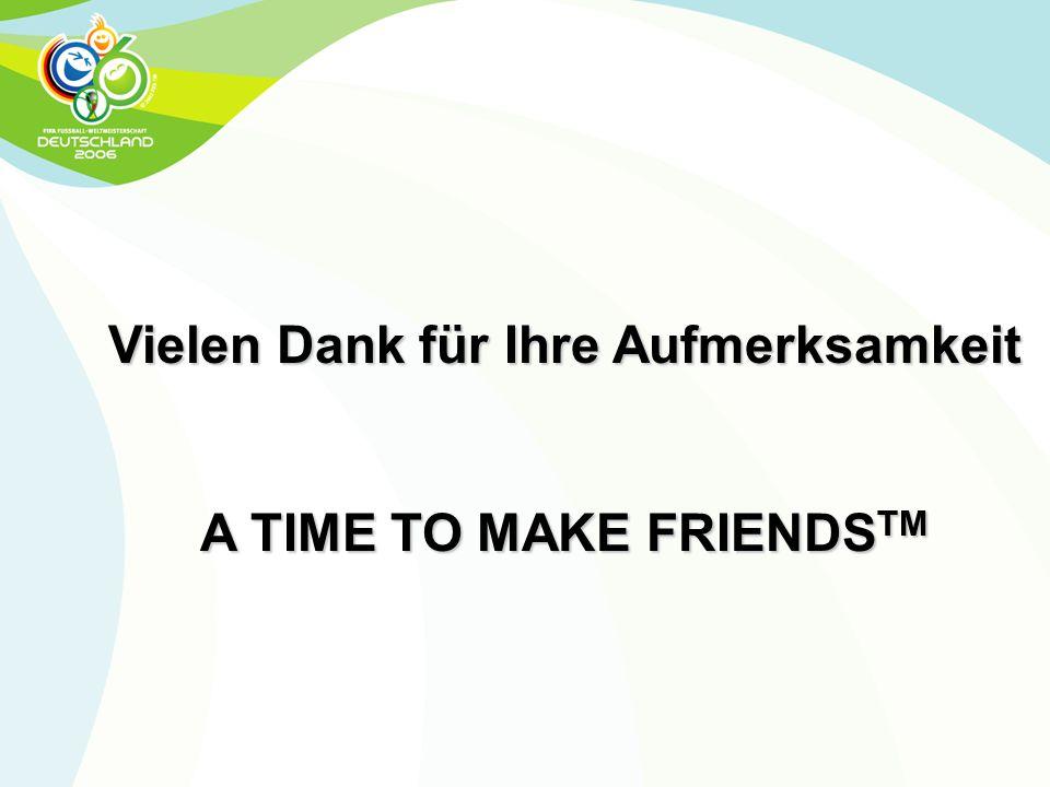 Vielen Dank für Ihre Aufmerksamkeit A TIME TO MAKE FRIENDSTM