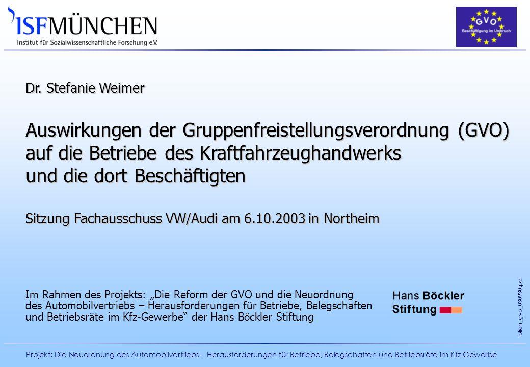 Dr. Stefanie Weimer Auswirkungen der Gruppenfreistellungsverordnung (GVO) auf die Betriebe des Kraftfahrzeughandwerks und die dort Beschäftigten.