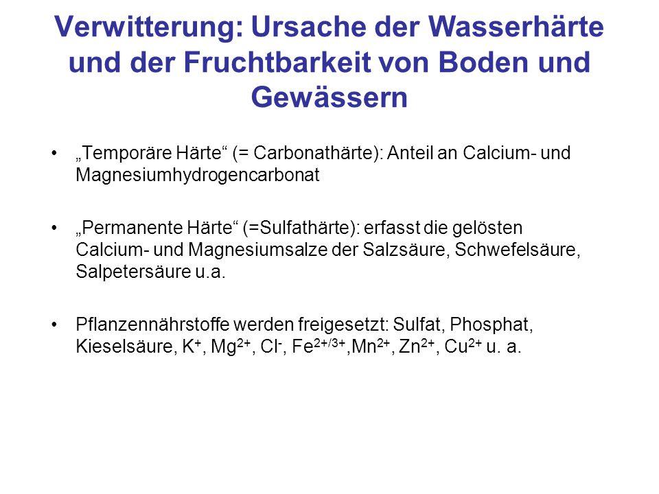 Verwitterung: Ursache der Wasserhärte und der Fruchtbarkeit von Boden und Gewässern