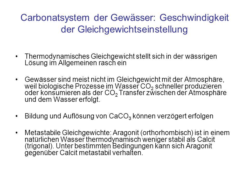 Carbonatsystem der Gewässer: Geschwindigkeit der Gleichgewichtseinstellung