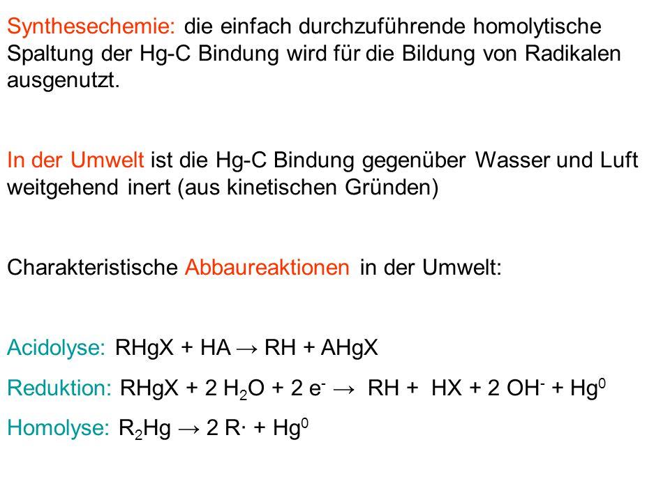 Synthesechemie: die einfach durchzuführende homolytische Spaltung der Hg-C Bindung wird für die Bildung von Radikalen ausgenutzt.