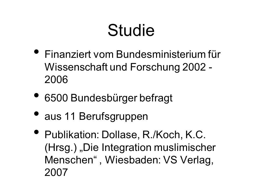 Studie Finanziert vom Bundesministerium für Wissenschaft und Forschung 2002 - 2006. 6500 Bundesbürger befragt.