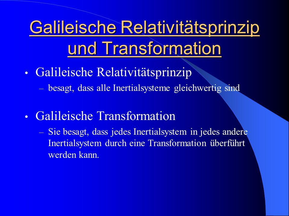 Galileische Relativitätsprinzip und Transformation