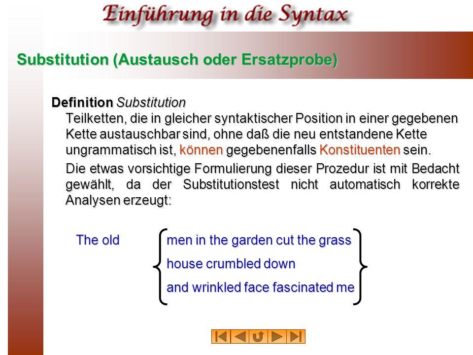 Substitution (Austausch oder Ersatzprobe)