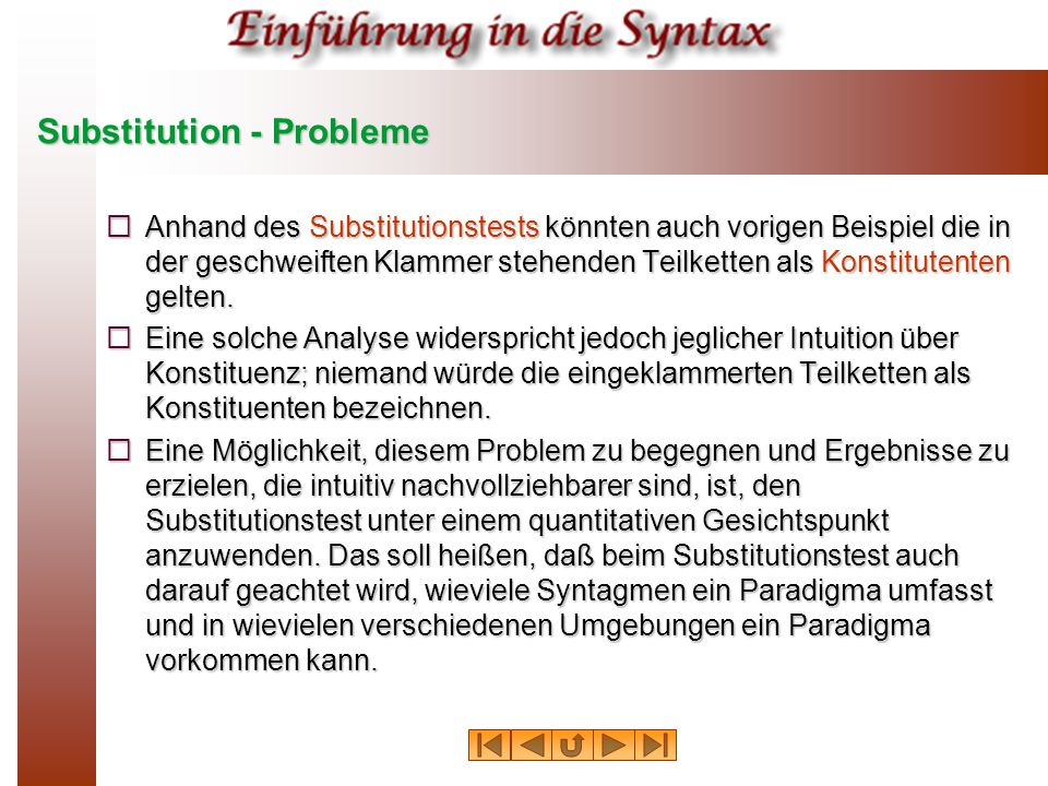 Substitution - Probleme