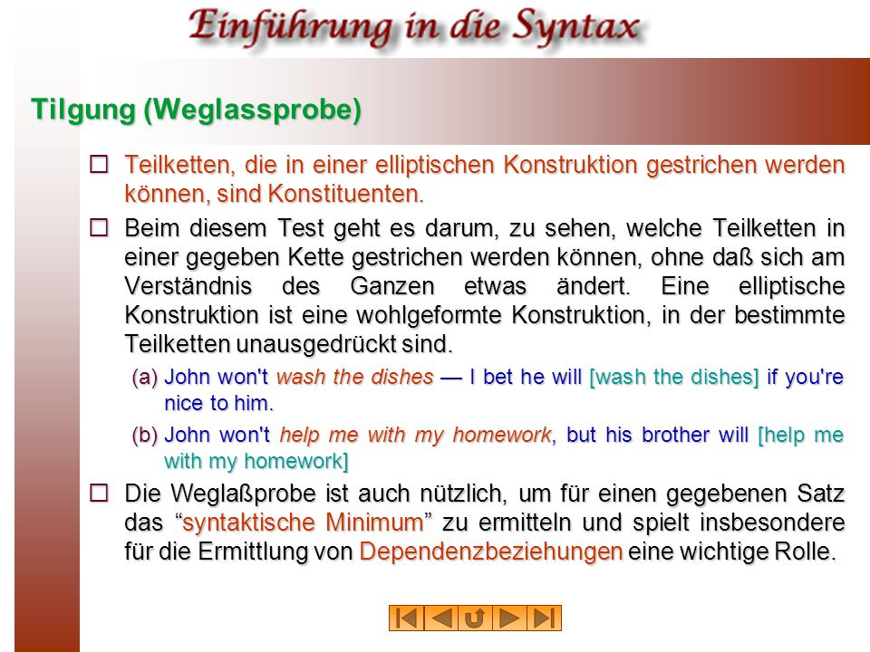 Tilgung (Weglassprobe)