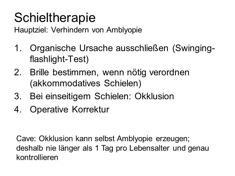 Schieltherapie Hauptziel: Verhindern von Amblyopie