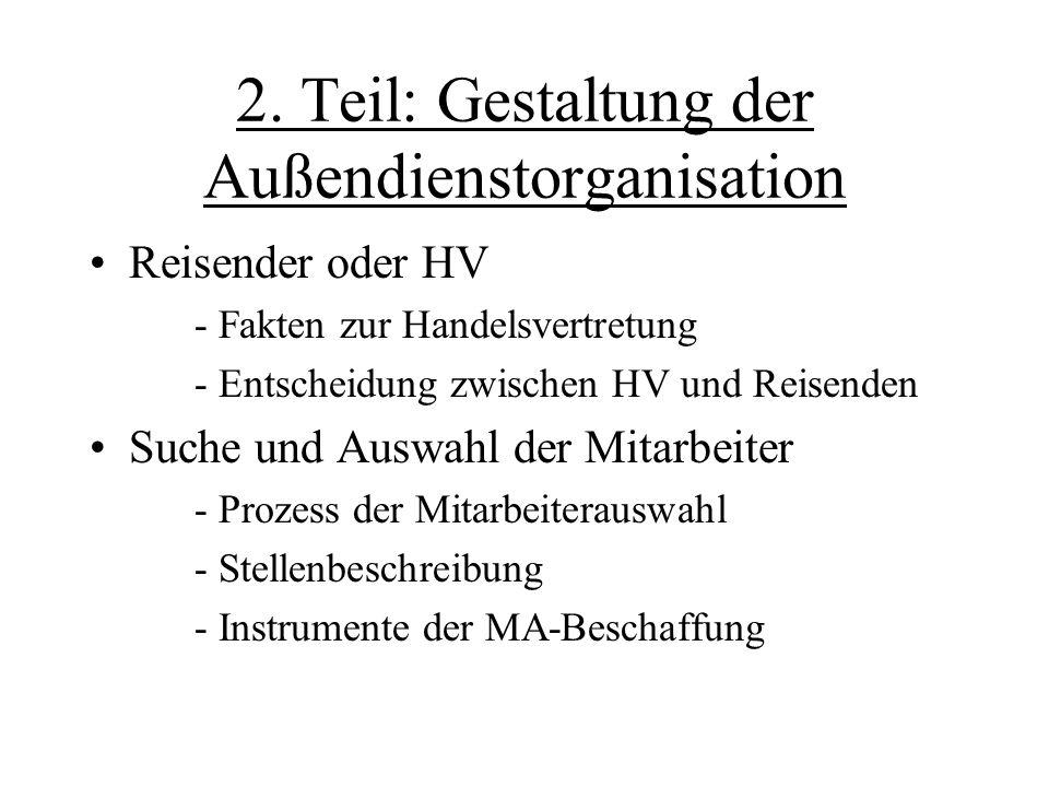 2. Teil: Gestaltung der Außendienstorganisation