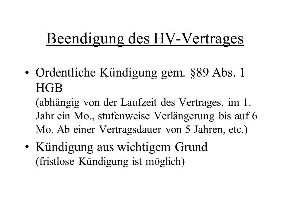 Beendigung des HV-Vertrages