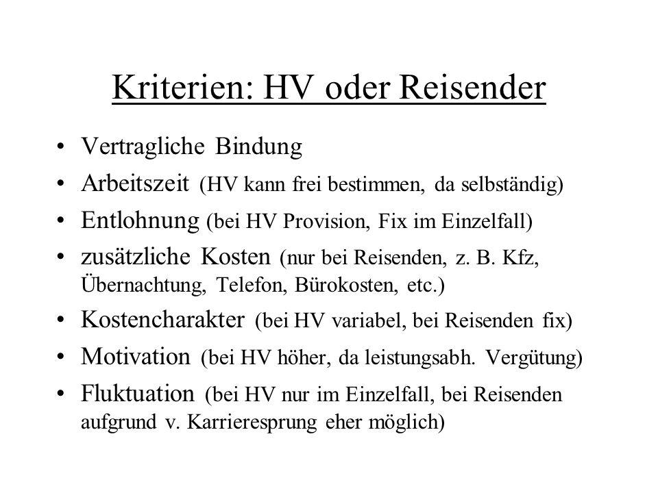 Kriterien: HV oder Reisender
