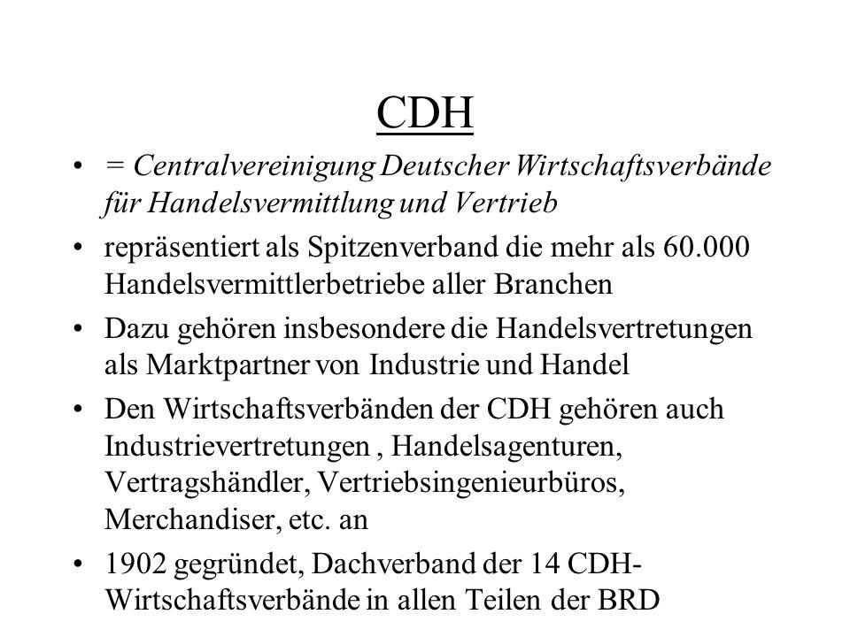 CDH = Centralvereinigung Deutscher Wirtschaftsverbände für Handelsvermittlung und Vertrieb.