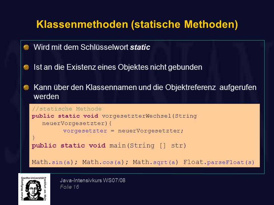 Klassenmethoden (statische Methoden)