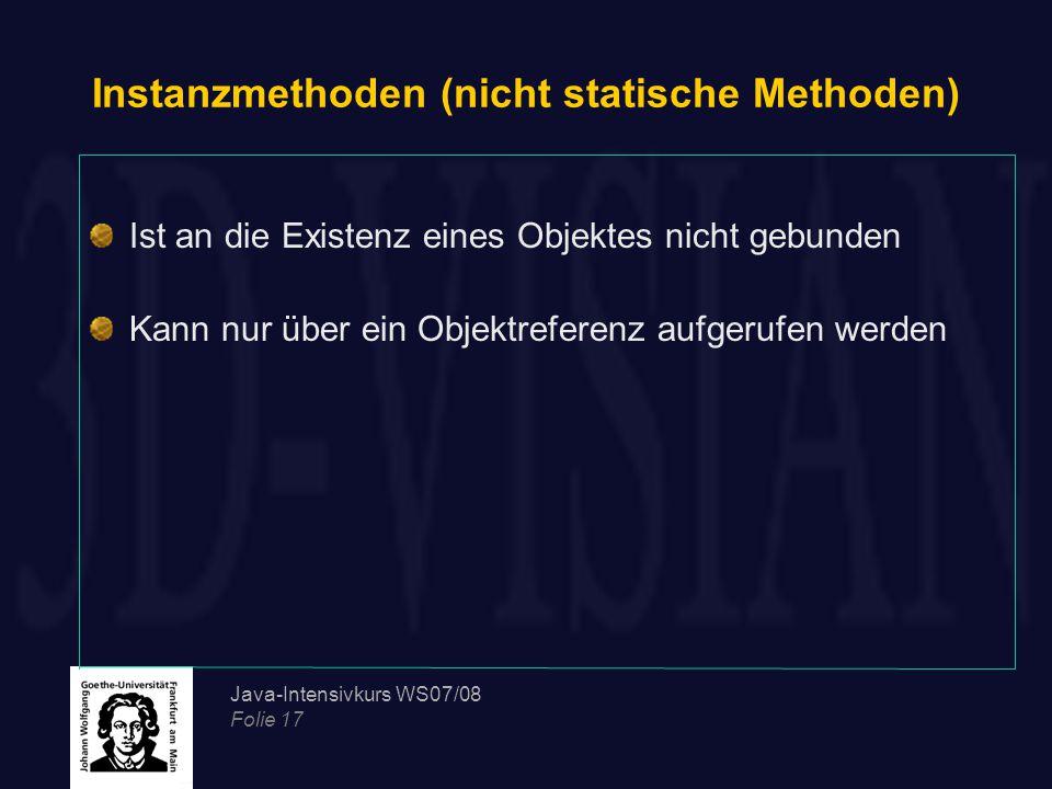 Instanzmethoden (nicht statische Methoden)