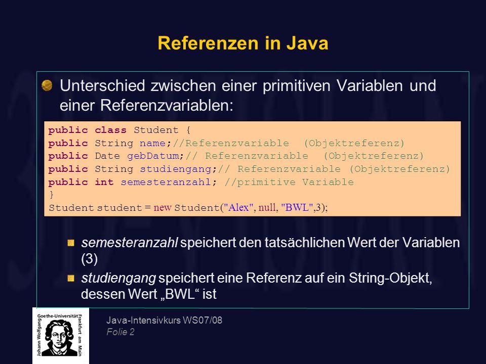 Referenzen in Java Unterschied zwischen einer primitiven Variablen und einer Referenzvariablen: