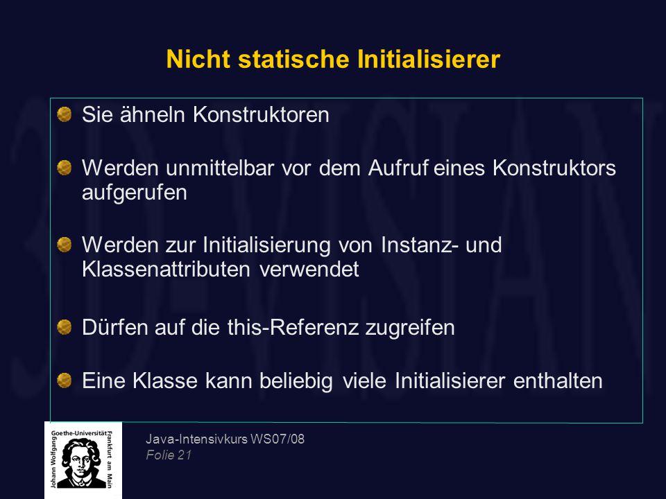 Nicht statische Initialisierer