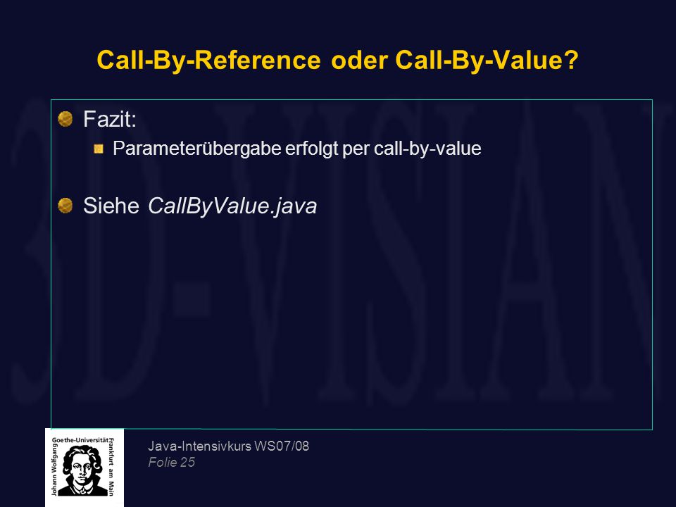 Call-By-Reference oder Call-By-Value