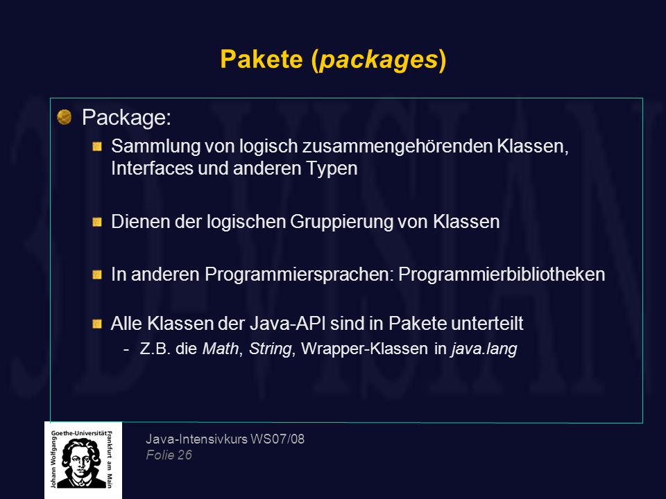 Pakete (packages) Package: