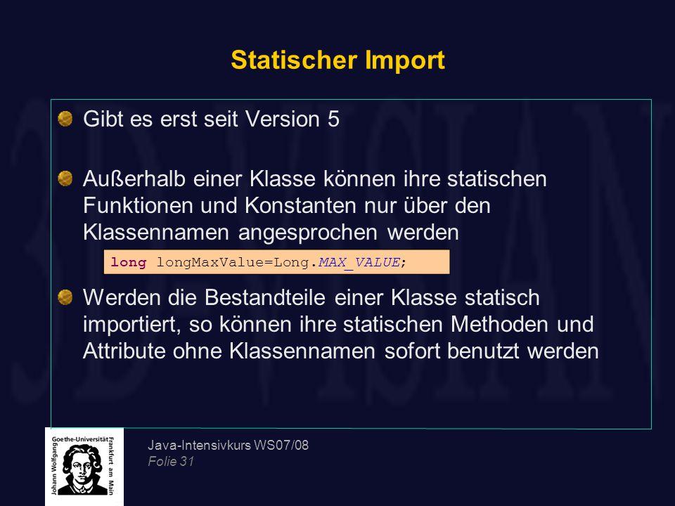 Statischer Import Gibt es erst seit Version 5