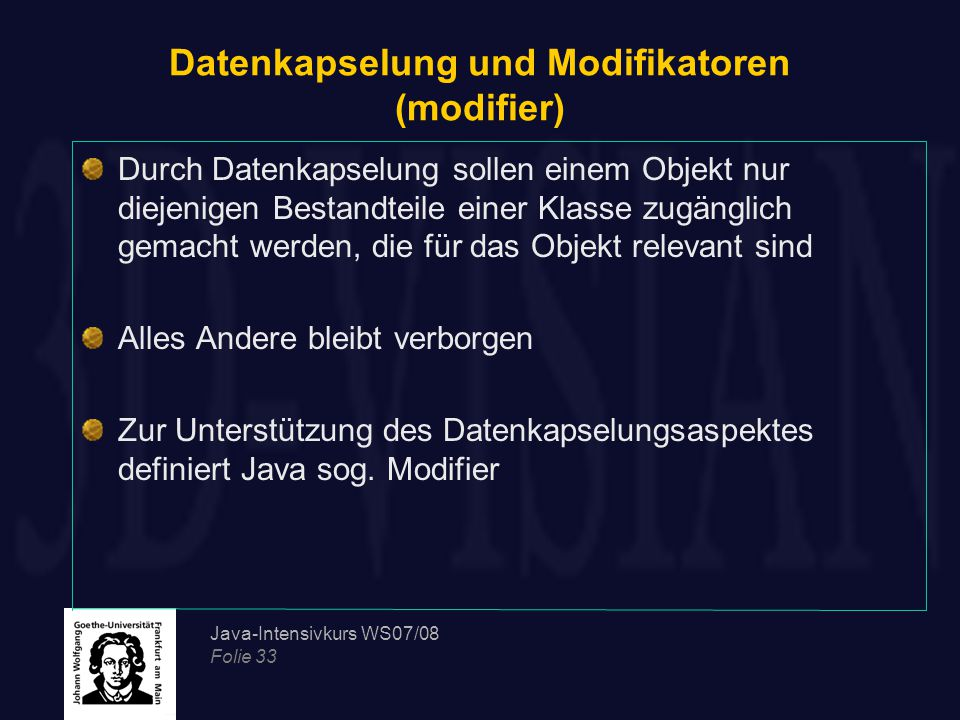 Datenkapselung und Modifikatoren (modifier)