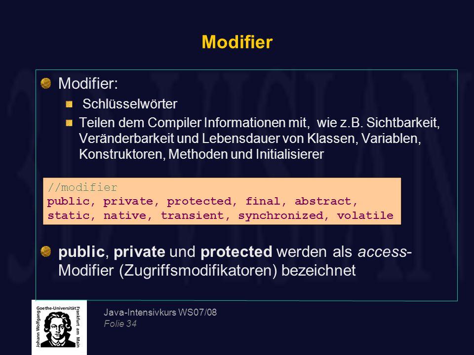 Modifier Modifier: Schlüsselwörter.