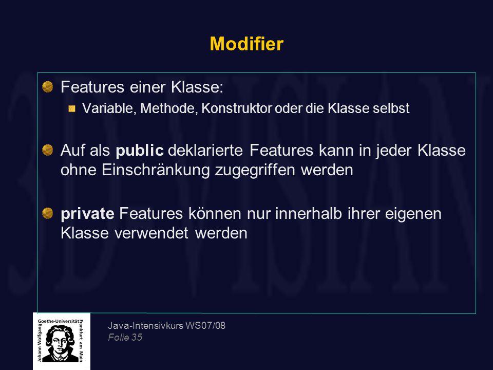 Modifier Features einer Klasse: