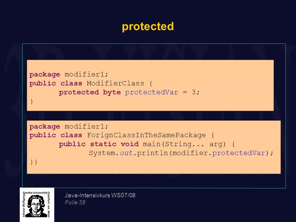 protected package modifier1; public class ModifierClass {