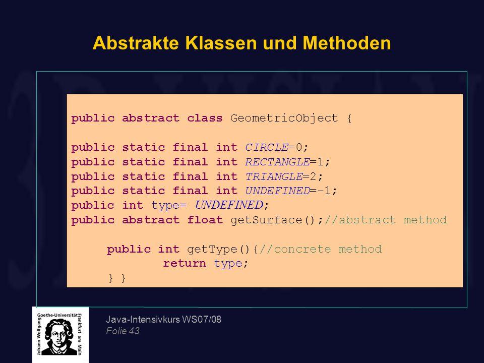 Abstrakte Klassen und Methoden