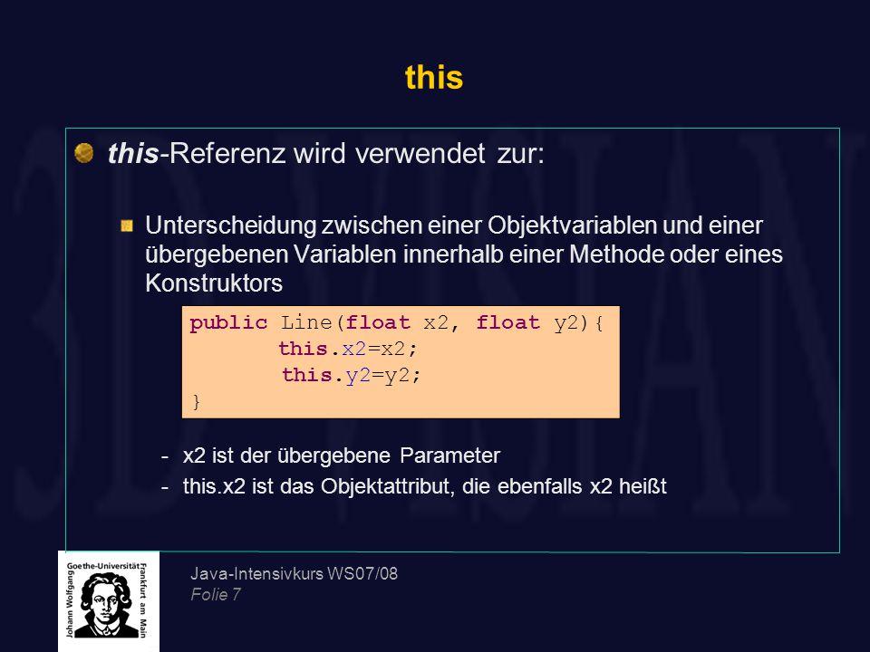 this this-Referenz wird verwendet zur: