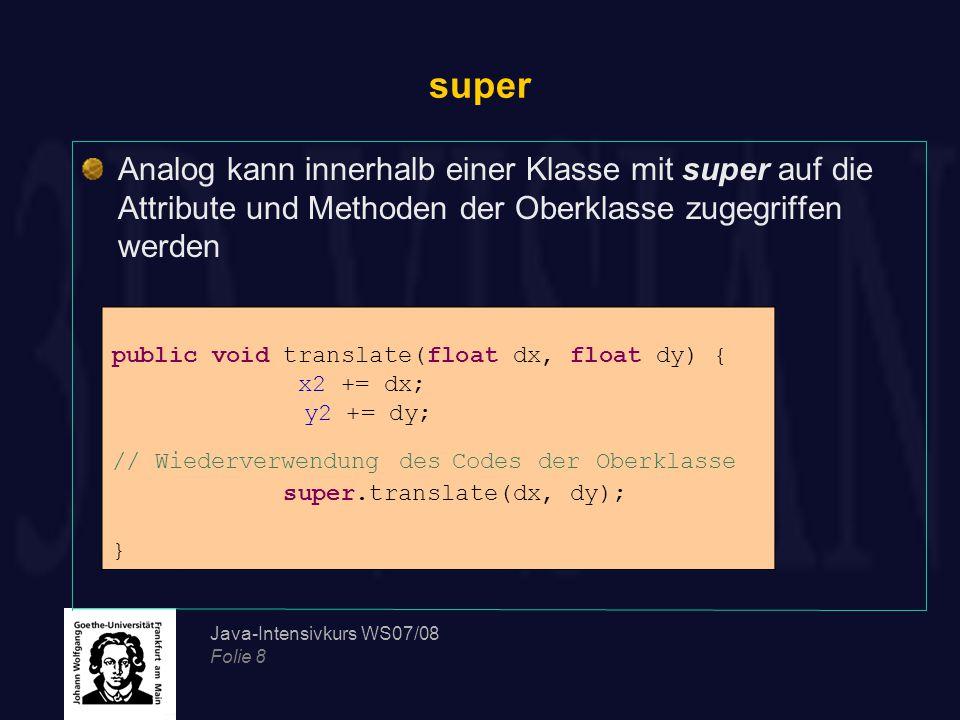 super Analog kann innerhalb einer Klasse mit super auf die Attribute und Methoden der Oberklasse zugegriffen werden.